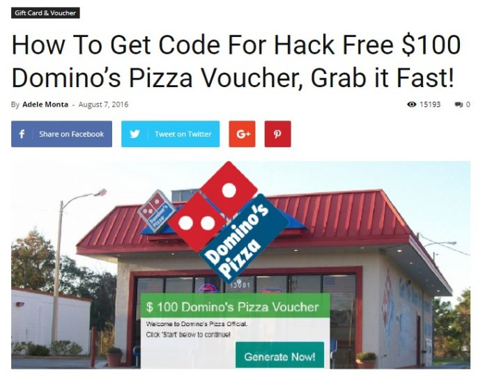 Dominos Pizza Voucher