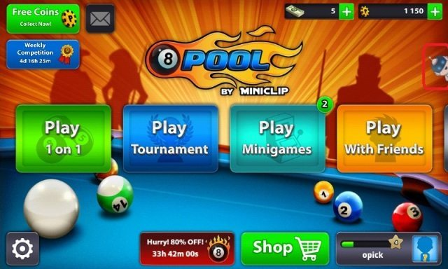 8ball pool game menu
