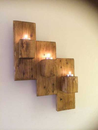 pallet wall mounted candle holders