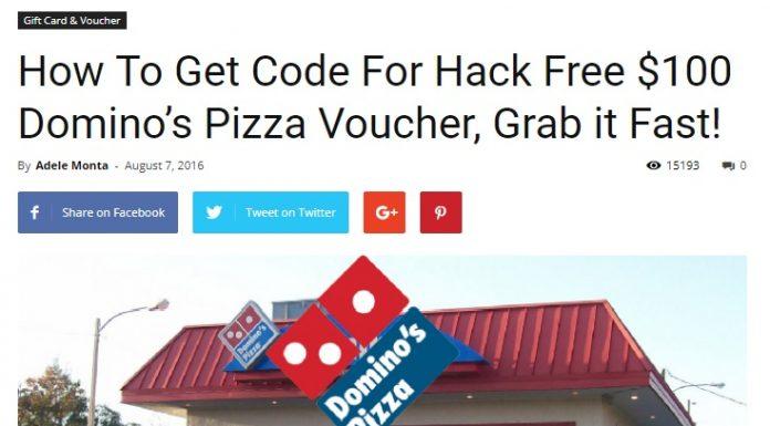 Dominos Pizza Voucher
